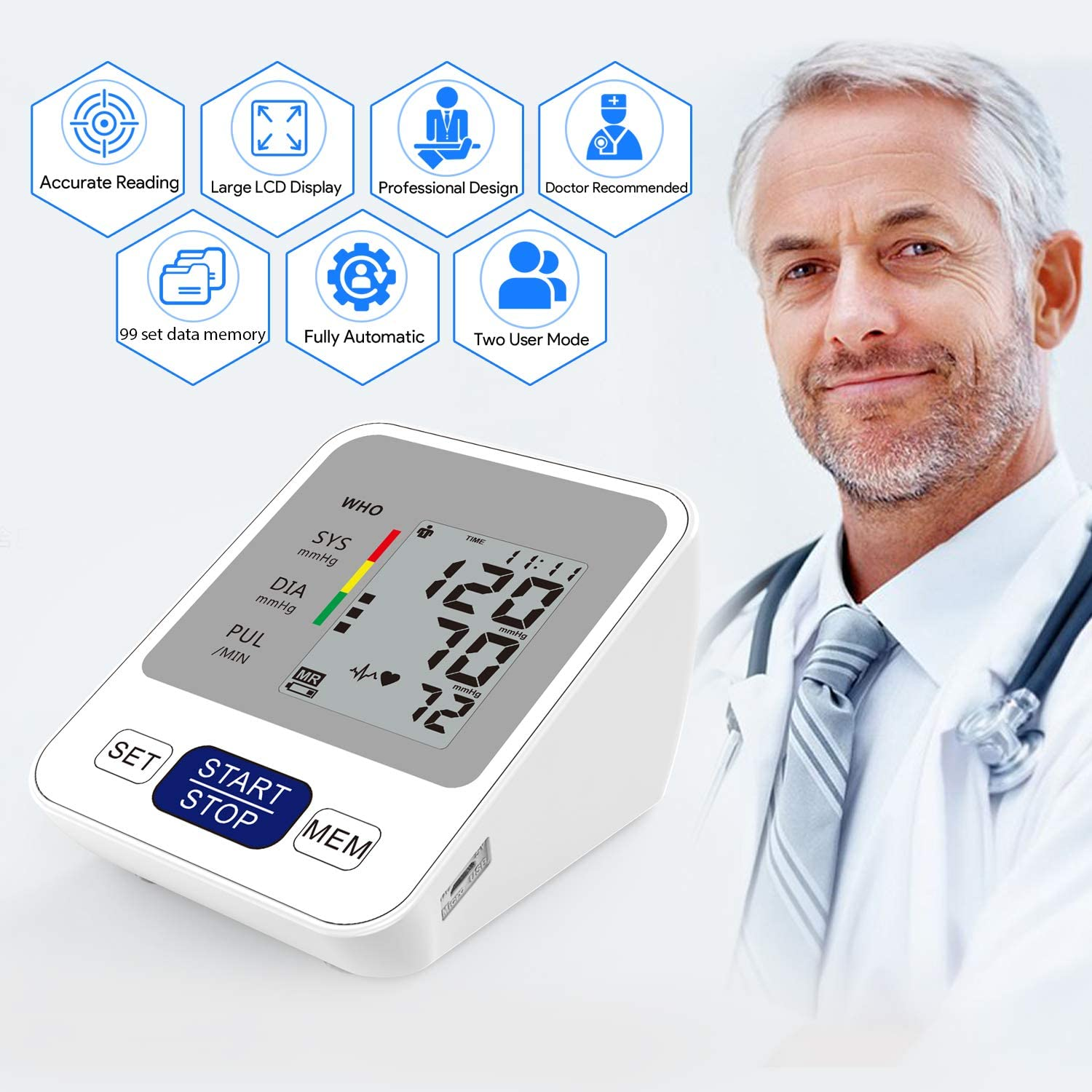ZIIDII Blood Pressure Monitor,Full Automatic Upper Arm Digital Blood Pressure Machine with 2 Users 198 Memory, Home Use BP Monitor with Cuff – Battery Included – Amazon Vine