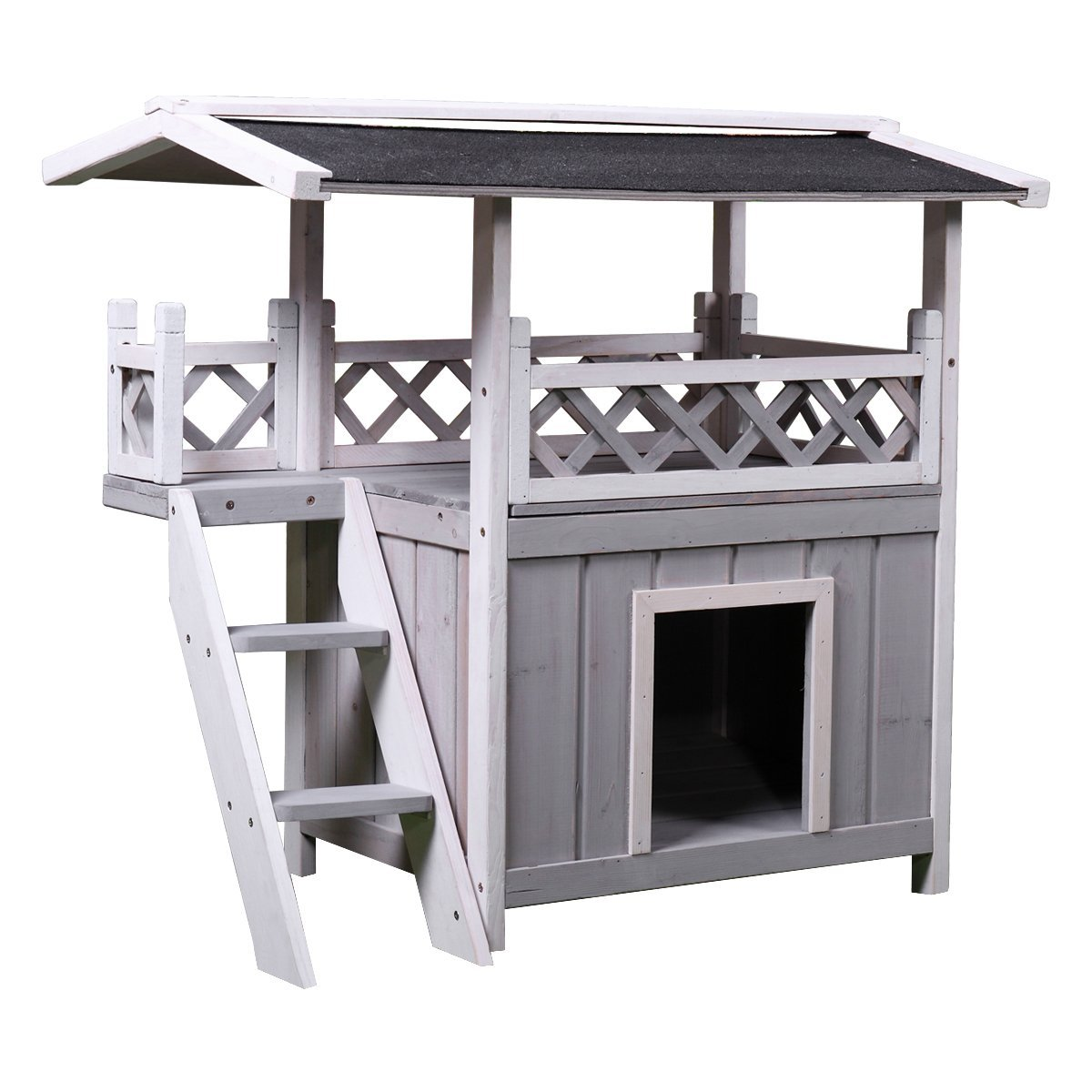 LAZYMOON Wooden Dog Pet House Cat Room Puppy Kennel Indoor Outdoor Shelter w/Roof