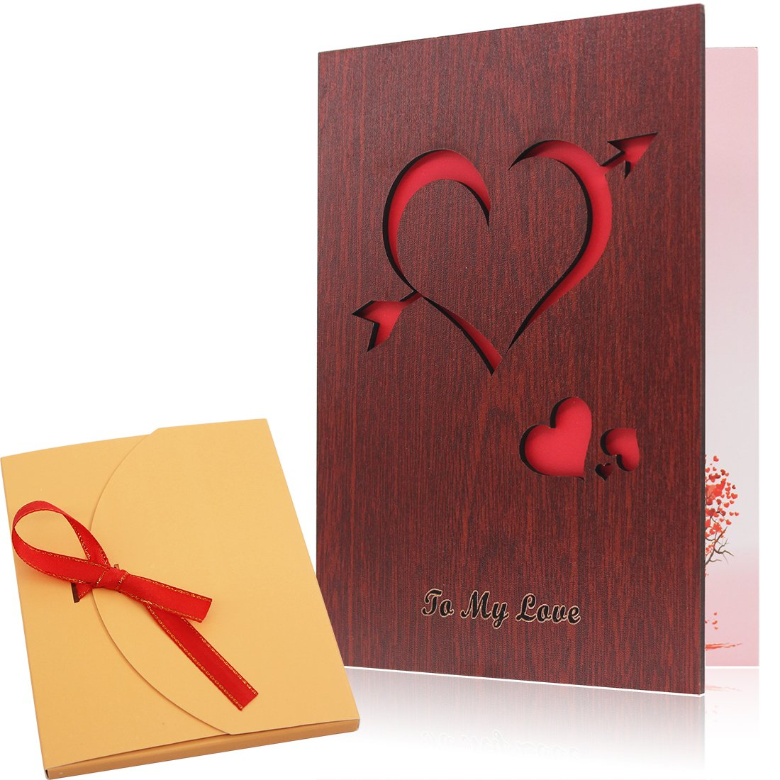 Handmade wood love greeting card valentine day present gift handmade blank wood card love greeting card valentines day cards made with red walnut polywood the kristyandbryce Images