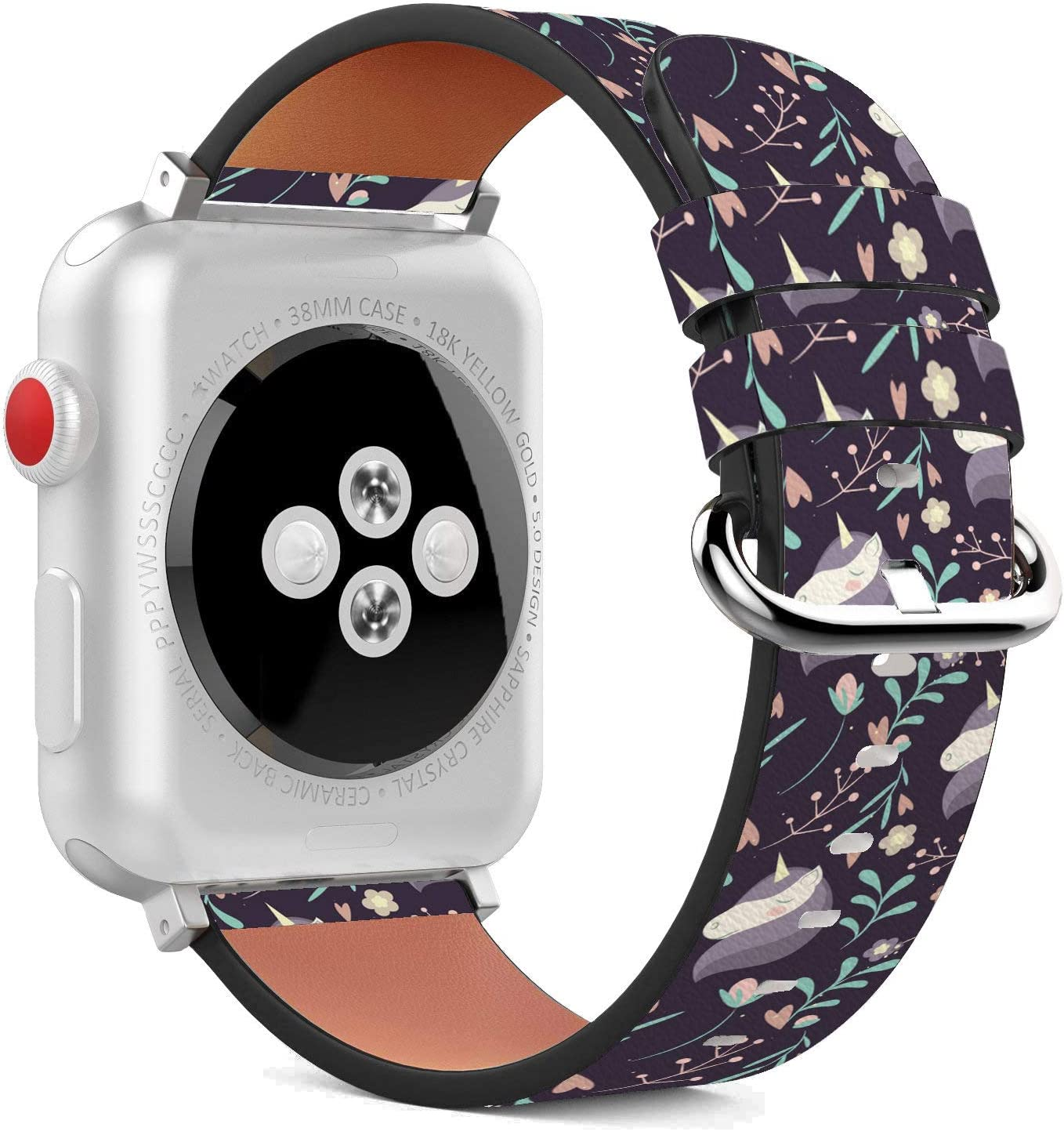 Compatible with Apple Watch - 38mm / 40mm (Serie 6/5/4/3/2/1) Leather Wristband Bracelet with Stainless Steel Clasp and Adapters -Purple Unicorn