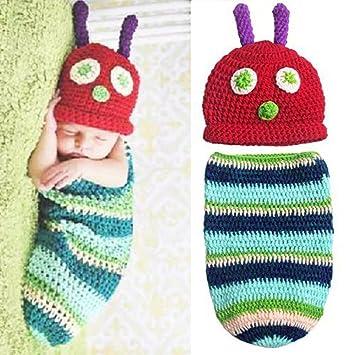 Amazon.com   ZMG Newborn Baby Boy Girl Beanie Crochet Very Hungry  Caterpillar Hat Cocoon Set Party Costume Photo Props   Baby a7cbeaeb148