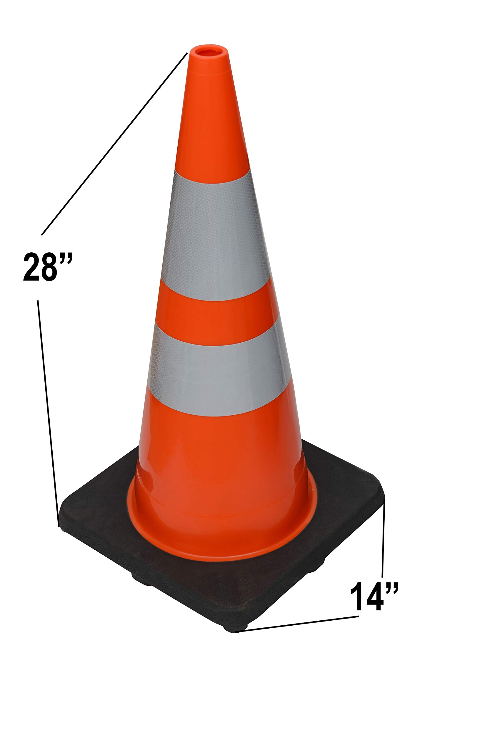 CJ Safety 28'' Height Orange PVC Traffic Safety Cones with Black Base & 6'' + 4'' Reflective Collars (8 Cones) by CJ Safety (Image #4)