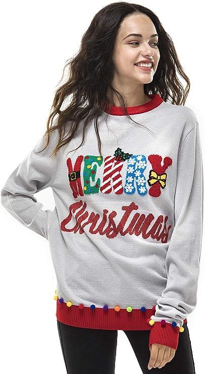 New Womens Men Retro Merry Christmas Tree Pom Pom Jumper Unisex Novelty Pullover
