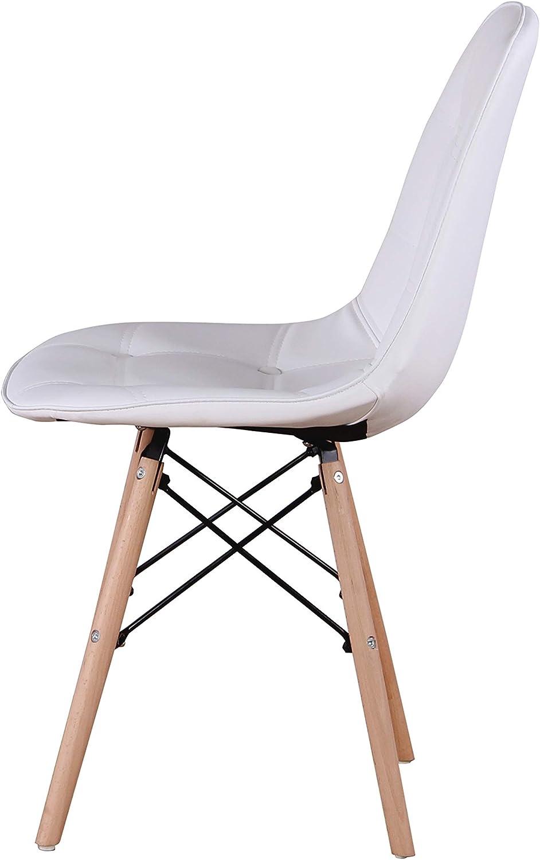 Set di 4 sedie da pranzo in pelle PU salotto con bottoni e gambe in legno per sala da pranzo N A Muebles Home imbottite camera da letto