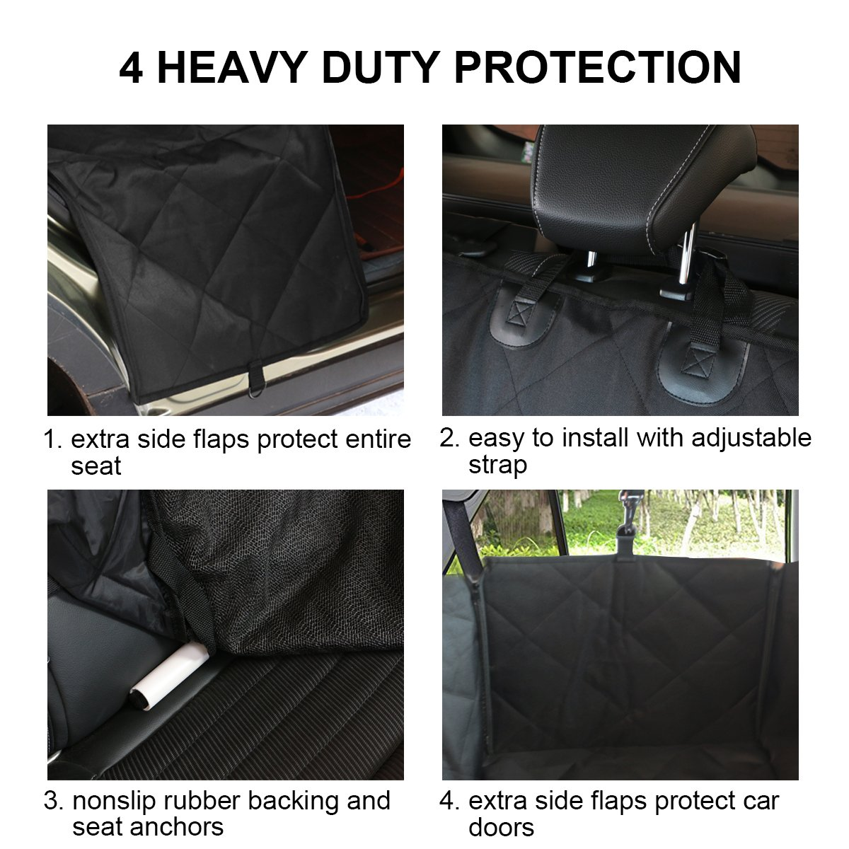 travel inspira Dog Seat Cover for Pets Large Pet Car Back Seat Covers Hammock Cars SUVs Trucks Water Resistant Nonslip with Car Rear Seat Backseat Protector & Side Flaps for Dogs by travel inspira (Image #3)