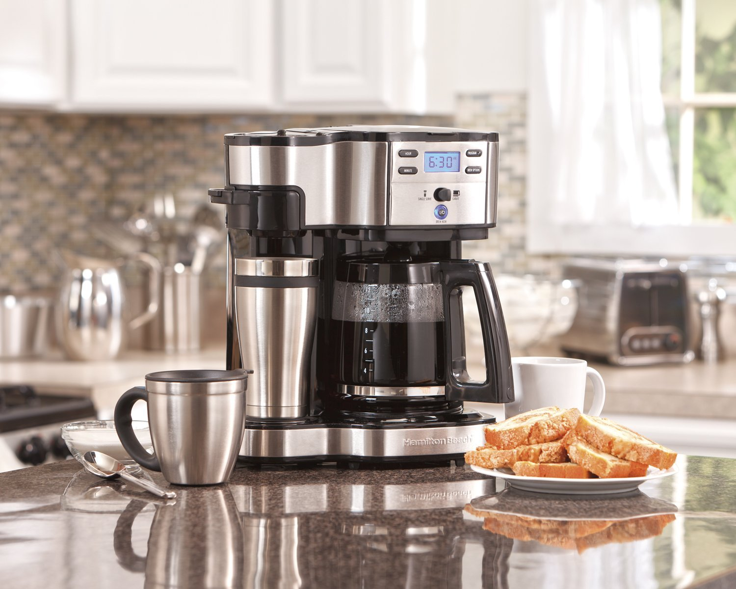 Hamilton Beach (49980A) Single Serve Coffee Maker and Coffee Pot Maker, Programmable, Black/Stainless Steel (Renewed) by Hamilton Beach (Image #4)