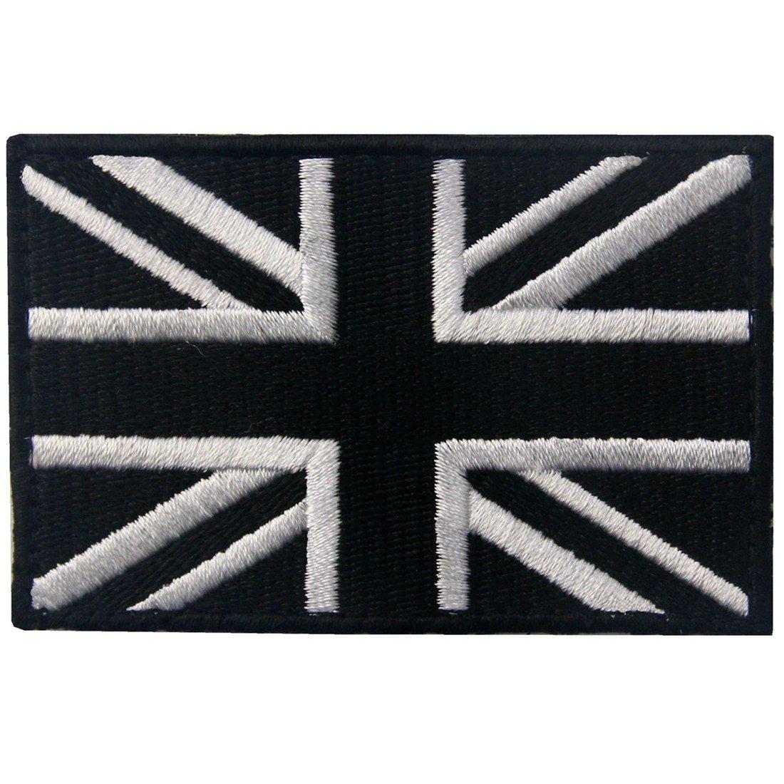 Tactical Great British Union Jack Flag Patch Embroidered Morale Applique Fastener Hook & Loop UK Emblem, White & Black