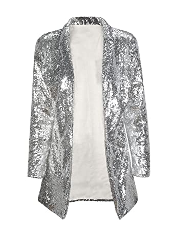 9e13343da34 IRISIE Women Sparkle Sequins Open Front Long Sleeve Blazer Jacket at ...