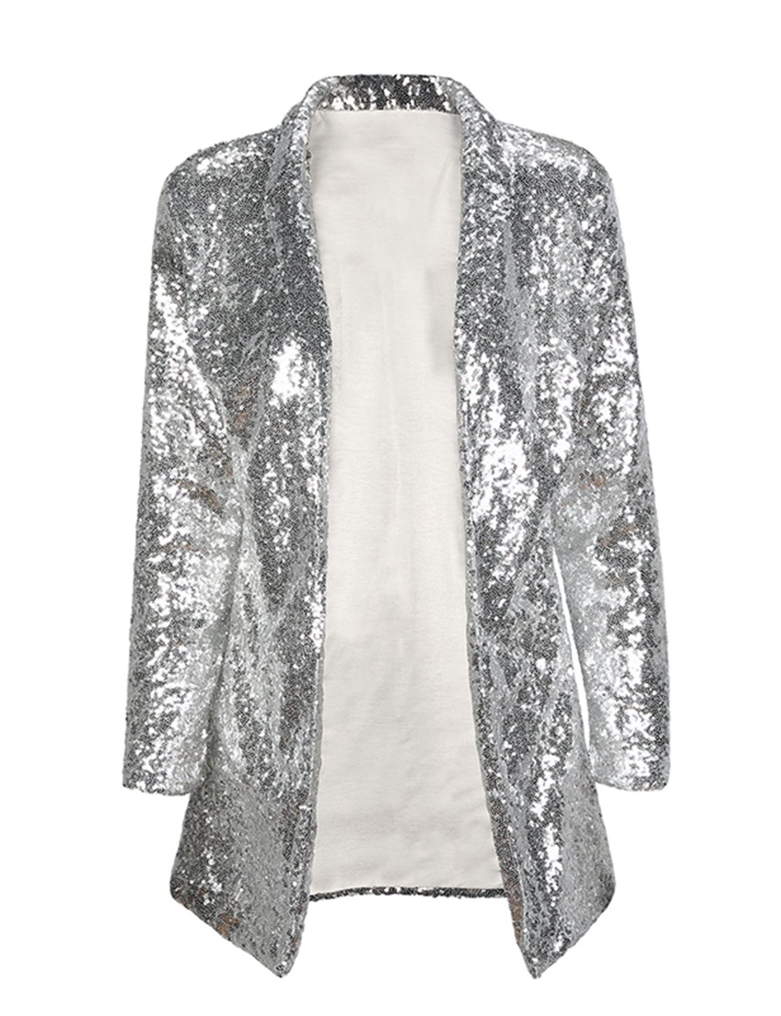 IRISIE Women Sparkle Sequins Open Front Long Sleeve Blazer Jacket(L,Silver)