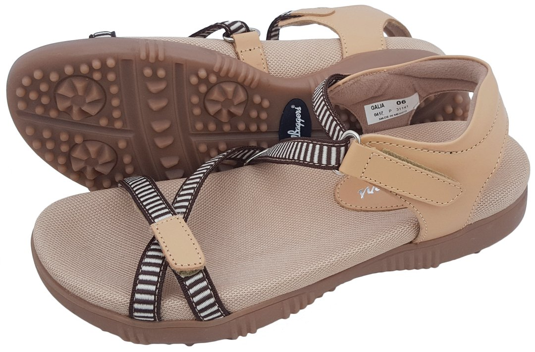 Sandbaggers Galia Women's Golf Sandals (9, Tan) by Sandbaggers