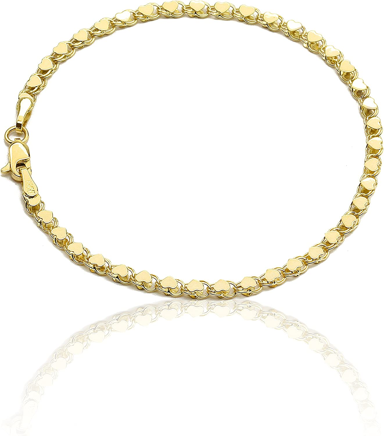 Floreo 10k Yellow Gold 3mm Relationship and Friendship Mirror Chain Hand and Ankle Bracelet with Heart Charms