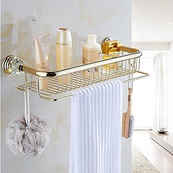 Health UK Shelf- Estante de toallas con barra de toalla doble para el almacenamiento del organizador ...