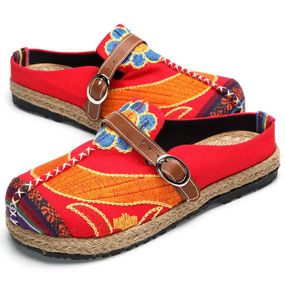 Gracosy Walking Slip-On, Sandalias Mules Para Mujeres Zapatos de Playa Coloridos Bordados Ocio Al Aire Libre Zuecos de Jardín Home slipers Zapatillas Planas Mujeres Zapatillas GRACOSYmukidass1013