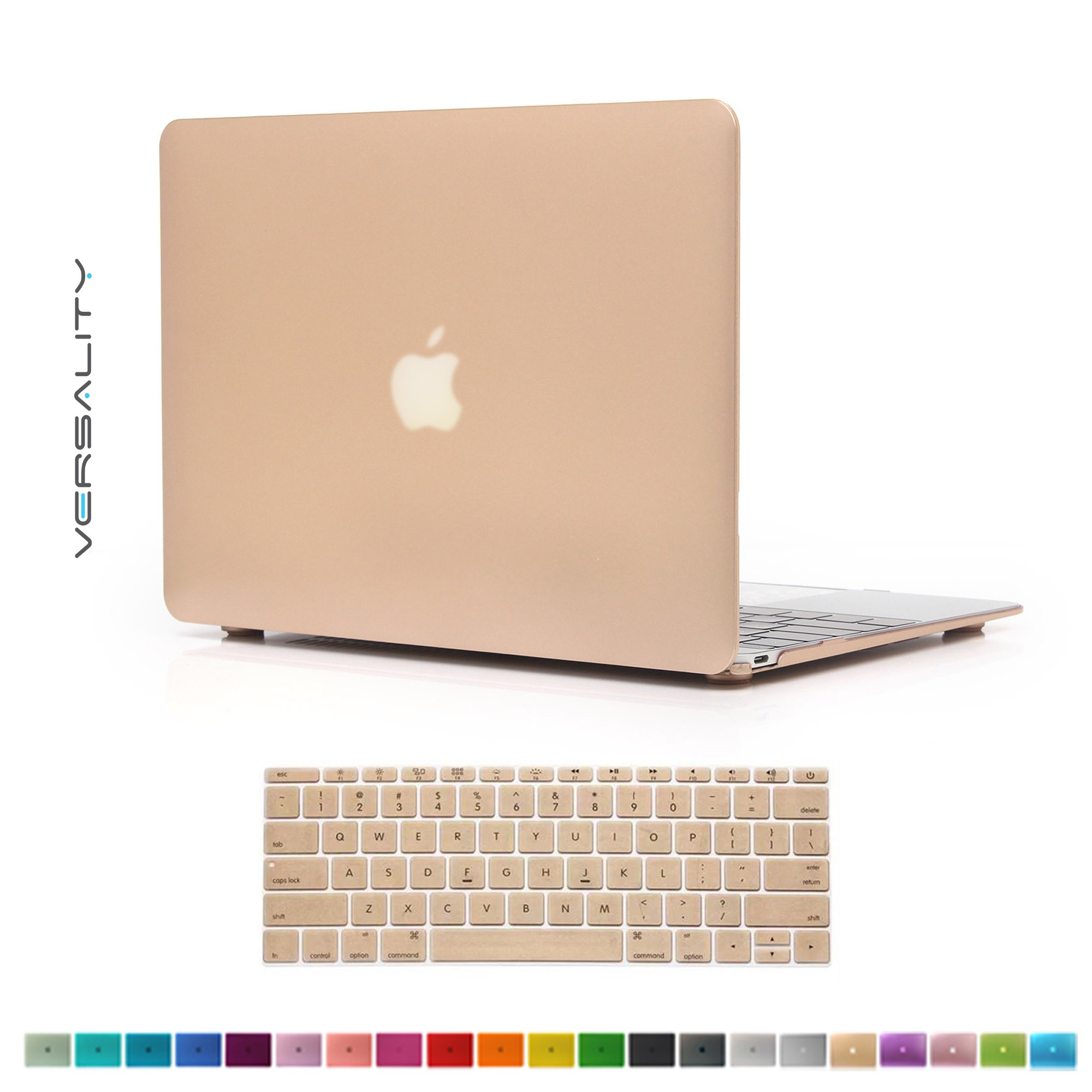 Versality Perfect Fit Hard Case Cover for The NEW MacBook 12'' (Model: A1534 ) and Matching Keyboard Cover in Champagne Gold Metallic
