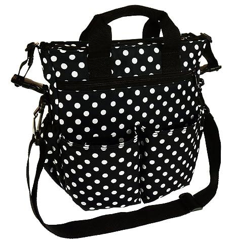 Bolso Para silla de paseo organizador Bolsa para pañales patrón blanco y negro Dots BIG Dots