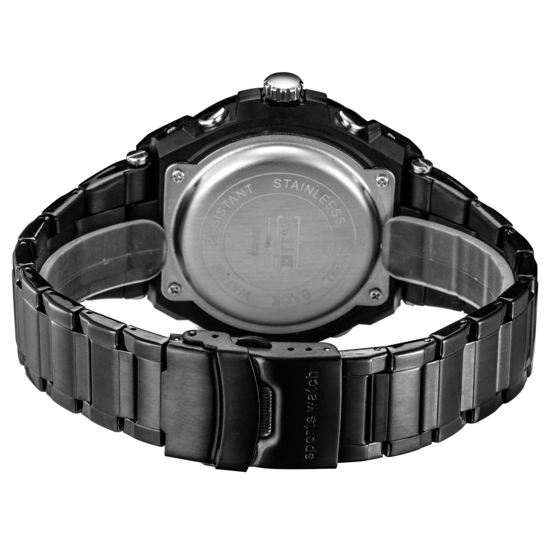 Sailine Reloj multifunción para Hombre, Doble Movimiento con 2 Zonas horarias y Correa de Acero Inoxidable, Sumergible hasta 30 m (Black-Blue)