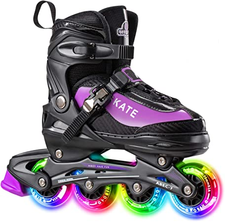 Red Outdoor /& Indoor Illuminating Roller Skates for Boys Girls Beginners Hiboy Adjustable Inline Skates with All Light up Wheels