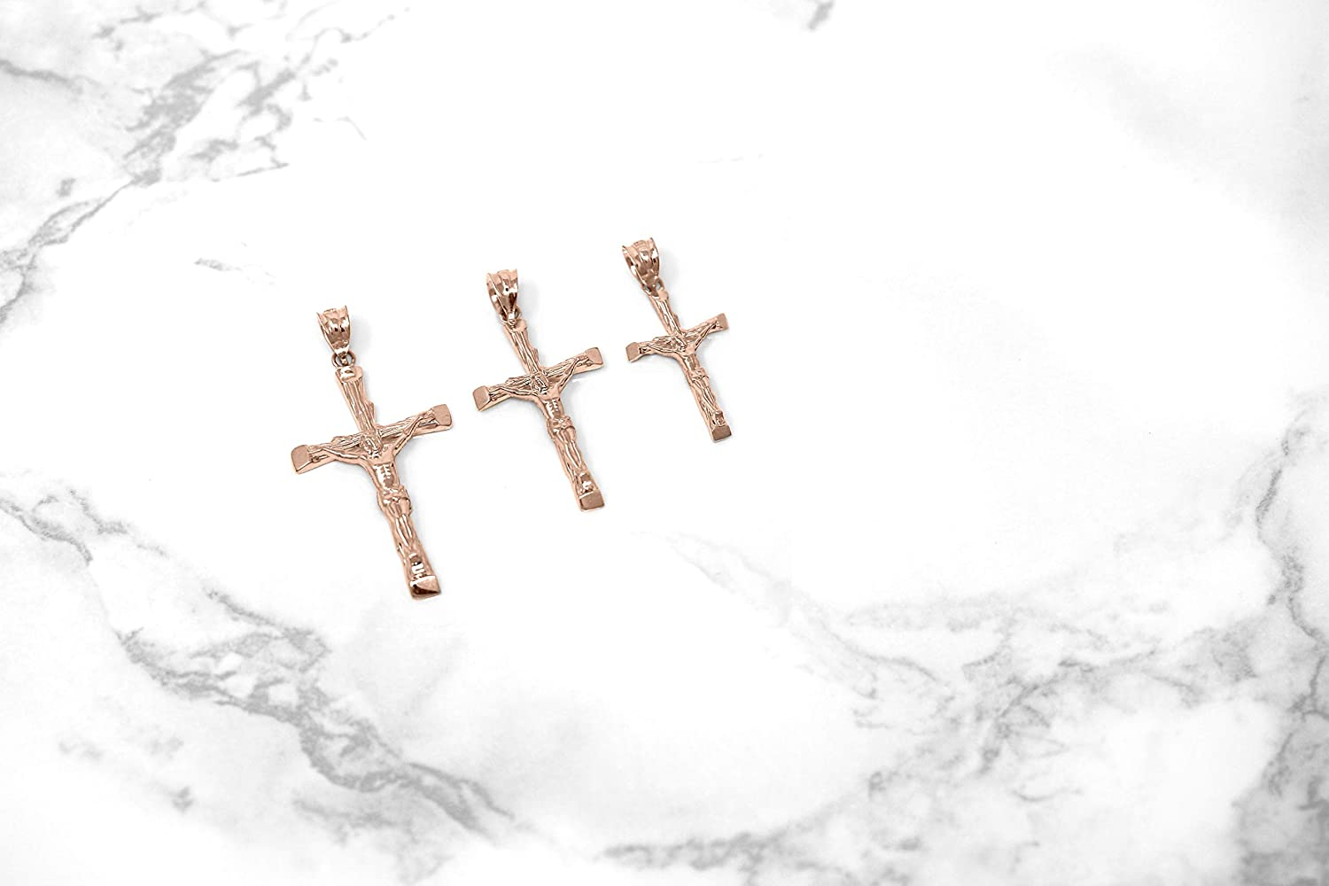 CaliRoseJewelry 14k Rose Gold Jesus on The Cross Crucifix Textured Pendant Necklace