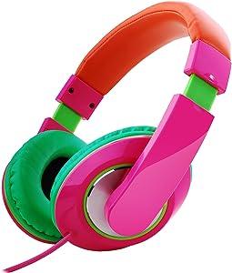 Rockpapa Comfort+ Adjustable Over Ear Headphones Earphones with Microphone In-line Volume for Adults Kids Childs Teens, SmartPhones Laptops DVD MP3/4 Surface iPhone iPod iPad Macbook Pink Orange Green