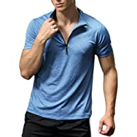 FELiCON® Men's Short Sleeve T-Shirt with Zip Neck Breathable Lightweight Baselayer Quick Dry Running Gym Skin Tight…