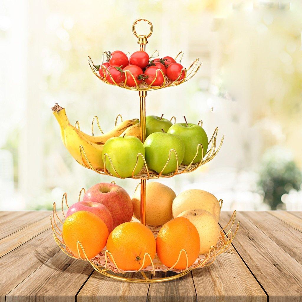 Fruit Racks 3-Tier Fruit Basket Plate Vegetable Kitchen Storage Snacks Creative Storage Hollow Household Living Room Color : Gold