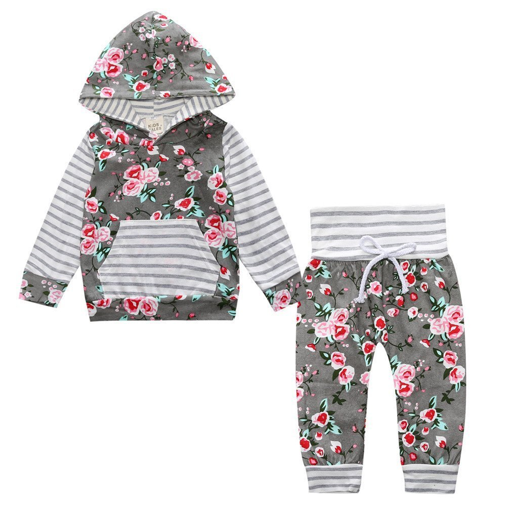 Toddler Baby Girl 2pcs Flower Print Hoodies with Pocket Top+Striped Long Pants Set Fuzhou Shang Ku Trade Co. Ltd.