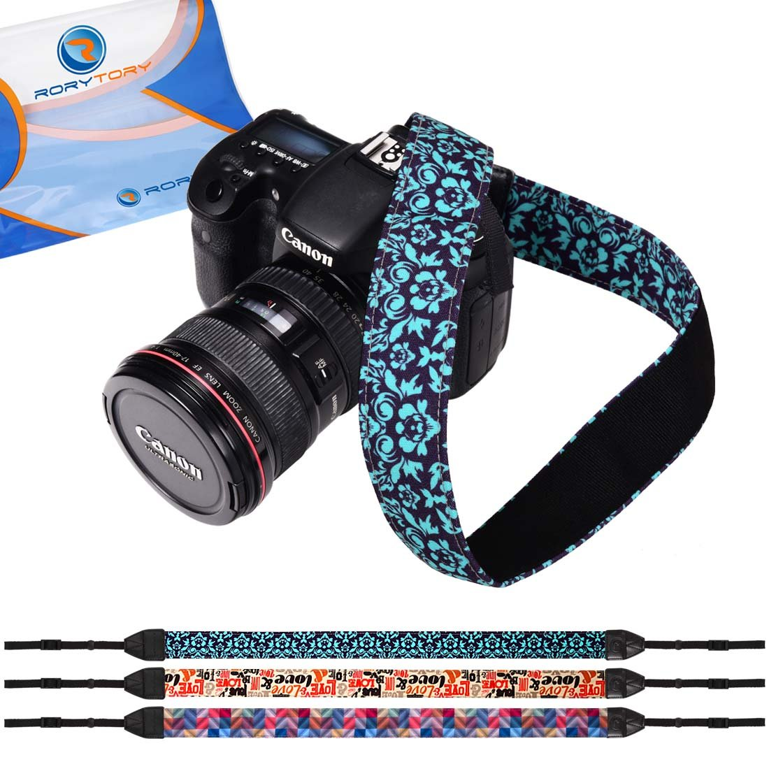 RoryTory 3pc Flower and Quotes Design DSLR Camera Shoulder and Neck Strap Bundle by RoryTory