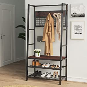 SHA CERLIN Rustic Entryway Hall Tree with 10 Removable Hooks, Large Coat Rack Shoe Bench with Heavy Duty Metal Frame, Multifunctional Furniture for Living Room & Bedroom