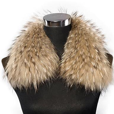 Bellerfur Mujer Abrigo De Bufanda De Cuello De Piel De Mapache Para El Abrigo: Amazon.es: Ropa y accesorios