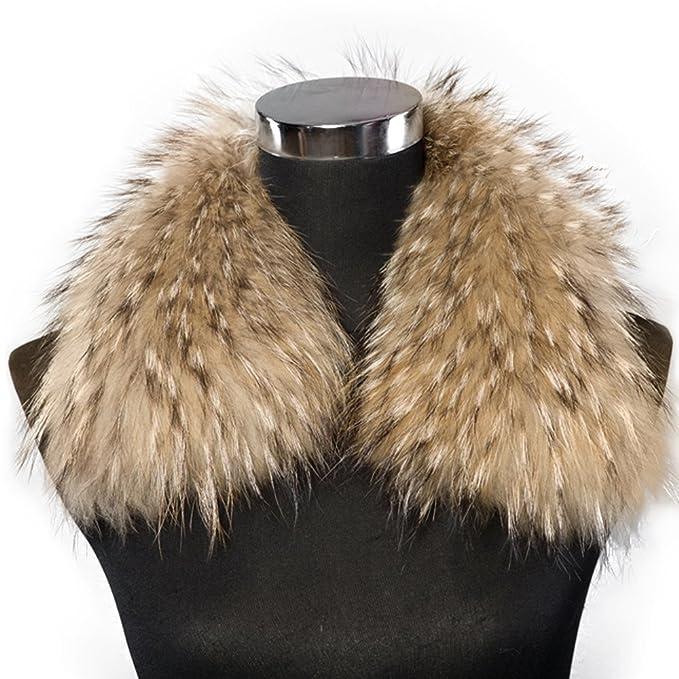 Bellerfur Mujer Abrigo De Bufanda De Cuello De Piel De Mapache Para El Abrigo Profundo natural: Amazon.es: Ropa y accesorios