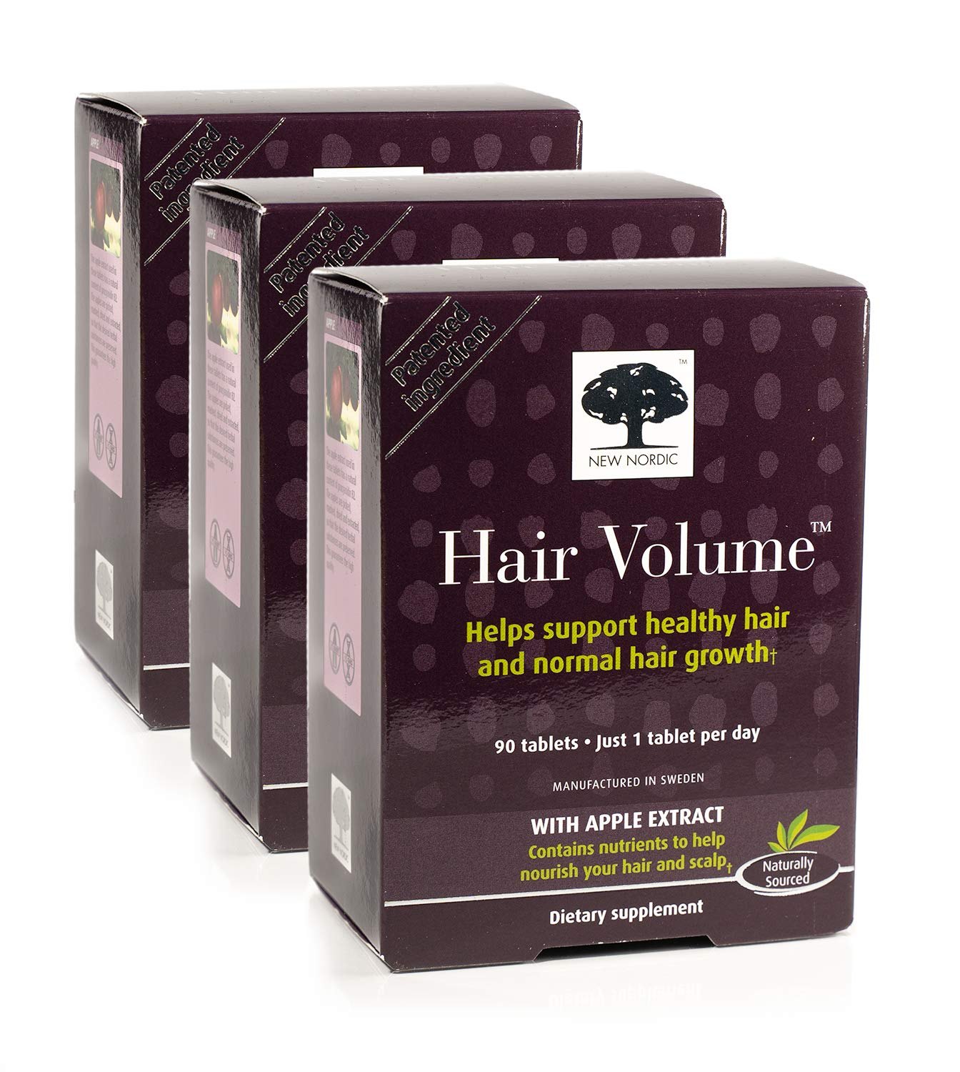 New Nordic Hair Volume w/Apple Extract, 90 Tablets (Pack of 3)