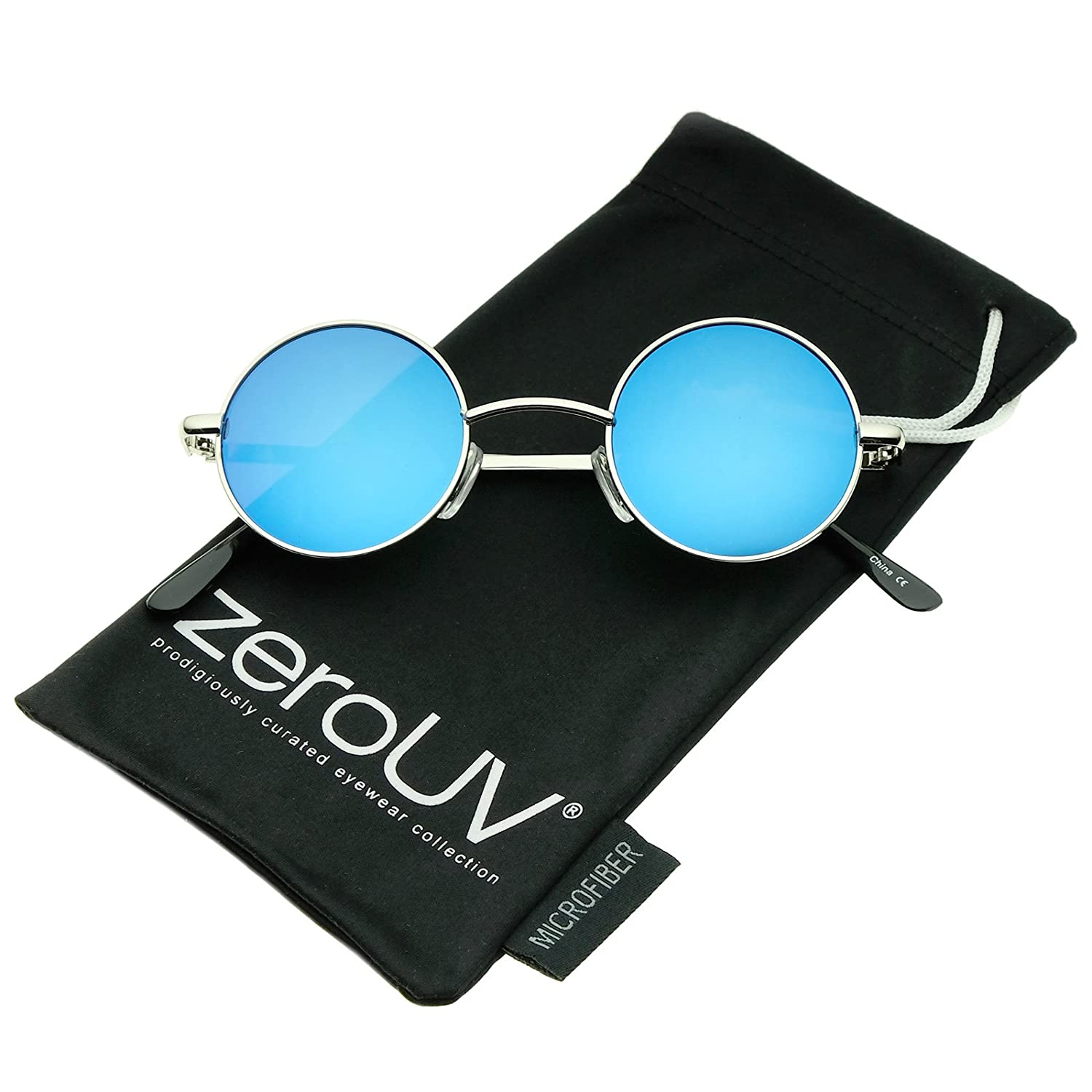 a463c07261a Amazon.com  Small Retro Lennon Style Colored Mirror Lens Round Metal  Sunglasses 41mm (Silver Blue Mirror)  Clothing