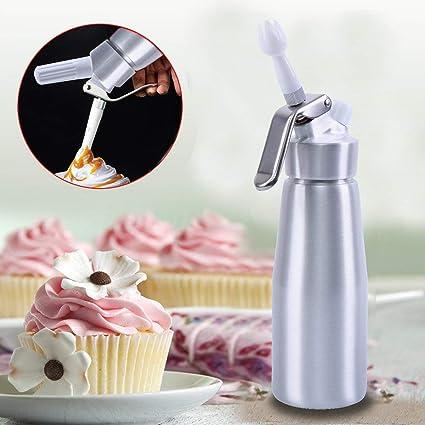 XuanYue Dispensador de Crema Batida 500ml Aluminio Inoxidable Profesional Sifon de Cocina 3 Puntas inyectoras