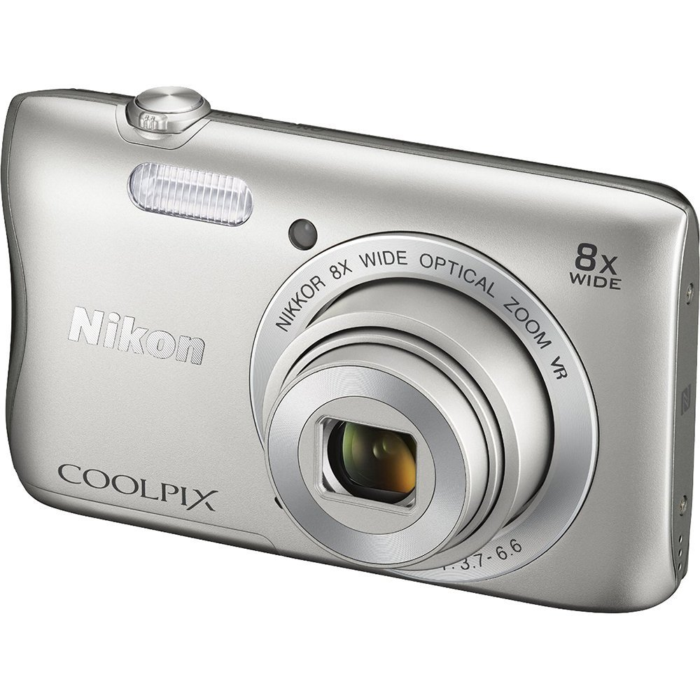 Nikon COOLPIX S3700 20.1 MP Wi-Fi Digital Camera with 8X Optical Zoom and 720P Video (Silver) by NIK0N