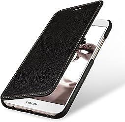 StilGut Book Type sans Clip, Housse en Cuir pour Huawei Honor 8 Pro. Etui de Protection de Cuir véritable à Ouverture latérale, Noir