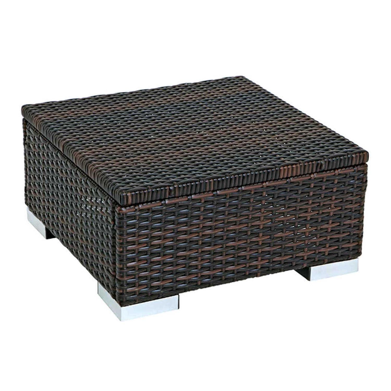 Gartenhocker/Beistelltisch Sorrento, 50x50 cm, Kunstrattan, braun