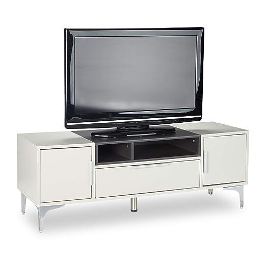 Relaxdays 10025025 Mueble TV con Cajón, Mesa Televisión, DM y ...