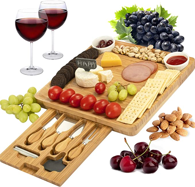 CTFT Cheese Board and Knife Set Bamboo Charcuterie Platter Serving Tray Gifts for Housewarming, Wedding, Valentine's Day, Wine, Crackers and Meat