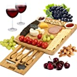 CTFT Cheese Board and Knife Set Bamboo Charcuterie Platter Serving Tray Gifts for Housewarming, Wedding, Wine, Crackers and M