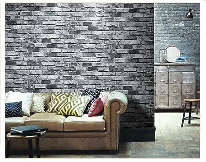 7buy 21 Inch By 394 Inch Grey Faux Brick Pattern Stone Pvc Waterproof Wallpaper Wall Decor Wall Murals For Restaurant Kitchen Walls Grey Brick