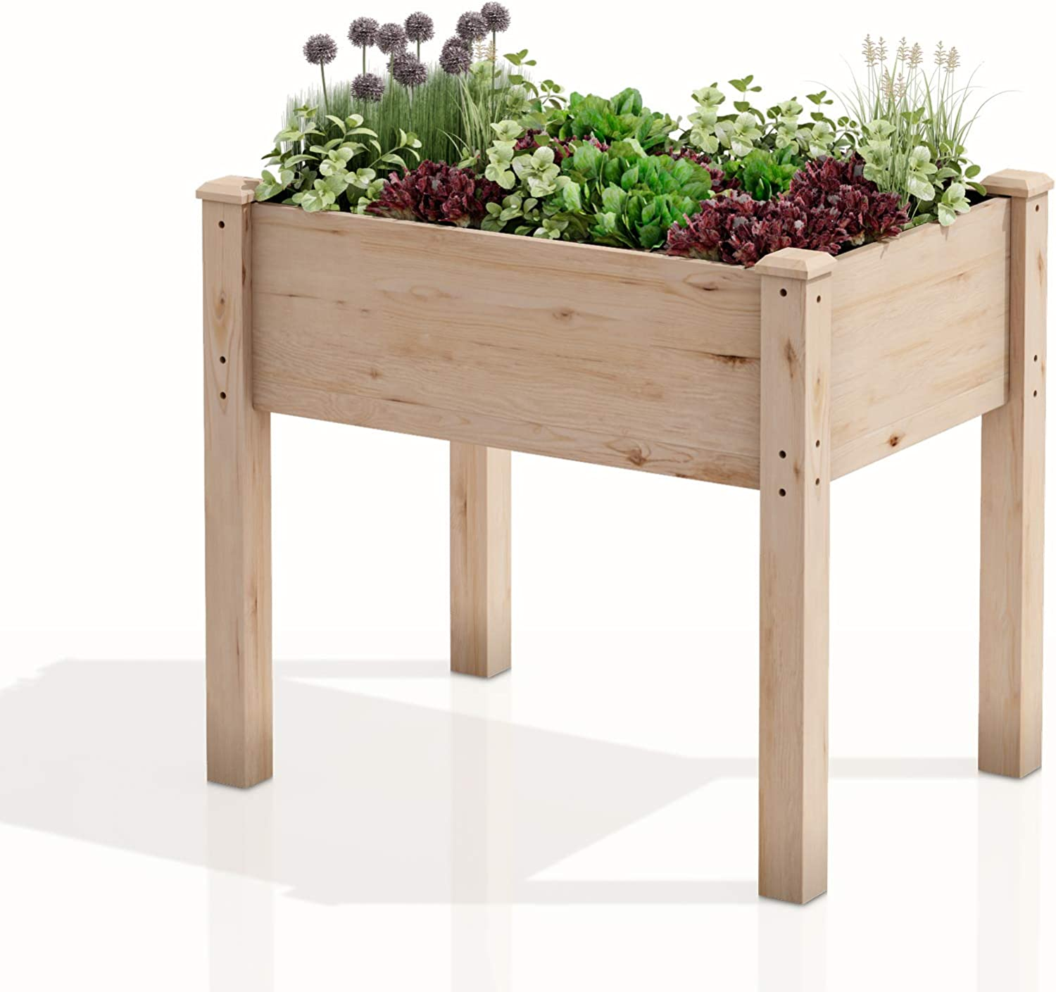 "AMZFINE Heavy Duty Wooden Raised Garden Bed Kit, Solid Wood Elevated Planter Box -34"" L x 18"" W x 30"" H, Natural"