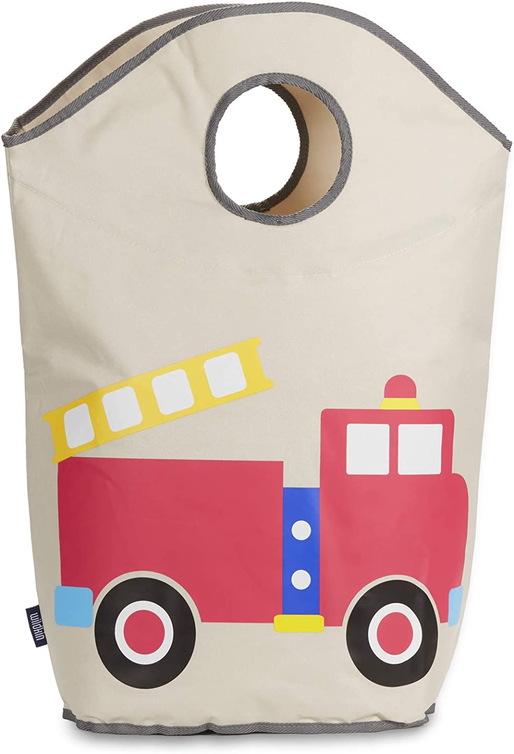 Wildkin Kids Laundry Hamper for Boys and Girls, Collapsible 600 Denier Polyester Fabric Hampers Features Two Carrying Handles and Mesh Bottom, Measures 27 x 16 x 6.5 Inches, Olive Kids (Fire Truck)