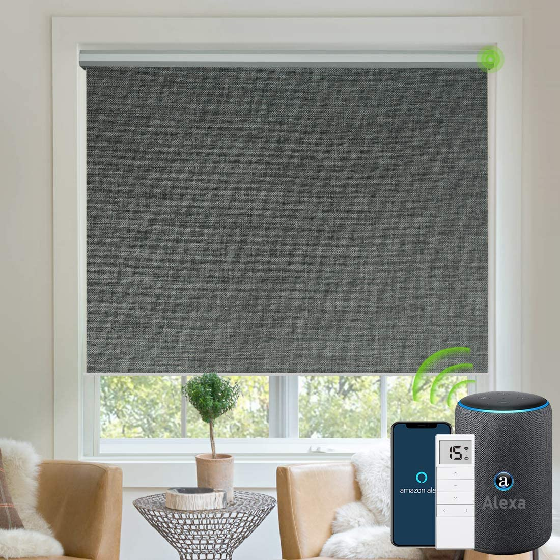 Yoolax Motorized Blinds Blackout Fabric Automatic Shades Remote Control Cordless Room Darkening Window Blinds (Dark Grey)