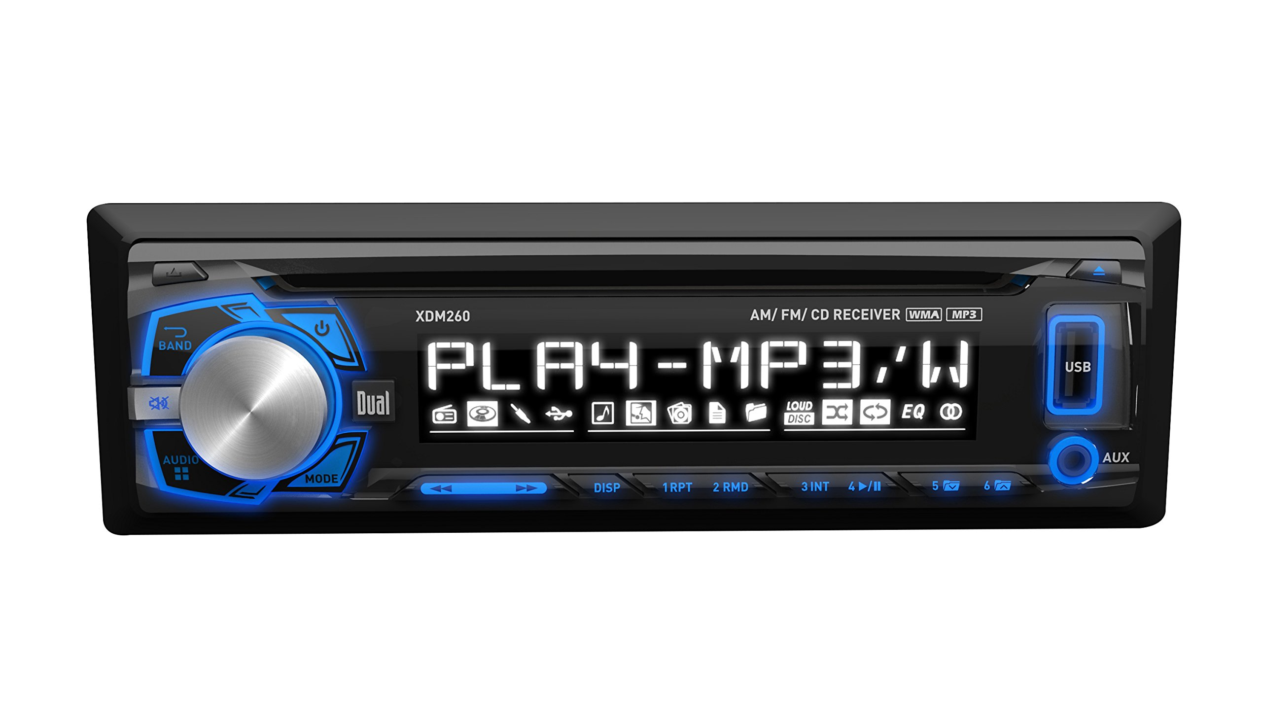 Dual Electronics XDM260 Multimedia Detachable 3.7 inch LCD Single DIN Car Stereo with Built-In CD, USB, MP3 & WMA Player