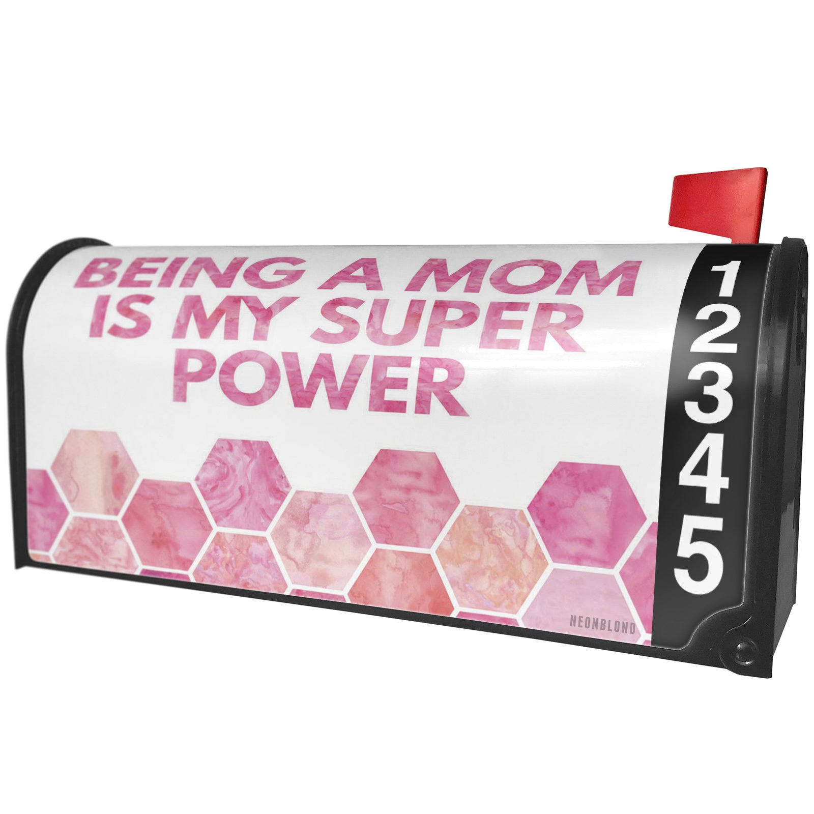 NEONBLOND Being a Mom is my Super Power Mother's Day Watercolor Honeycomb Pink Magnetic Mailbox Cover Custom Numbers