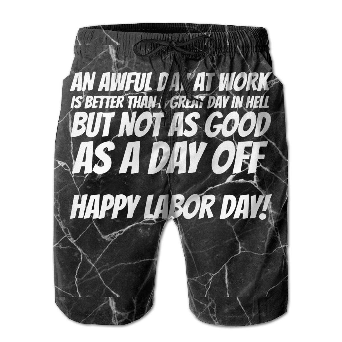 Work is Better Than Hell Labor Day Mens Boardshorts Drawstring Swimming Shorts