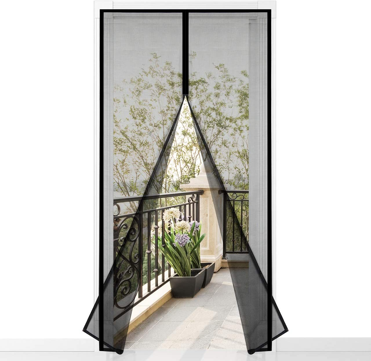 Magnetvorhang Schwarz 110x250cm 43x98inch f/ür Balkont/ür Wohnzimmer Terrassent/ür Automatisches Schlie/ßEn GOUDU Fliegengitter T/ür Magnetisch Insektenschutz