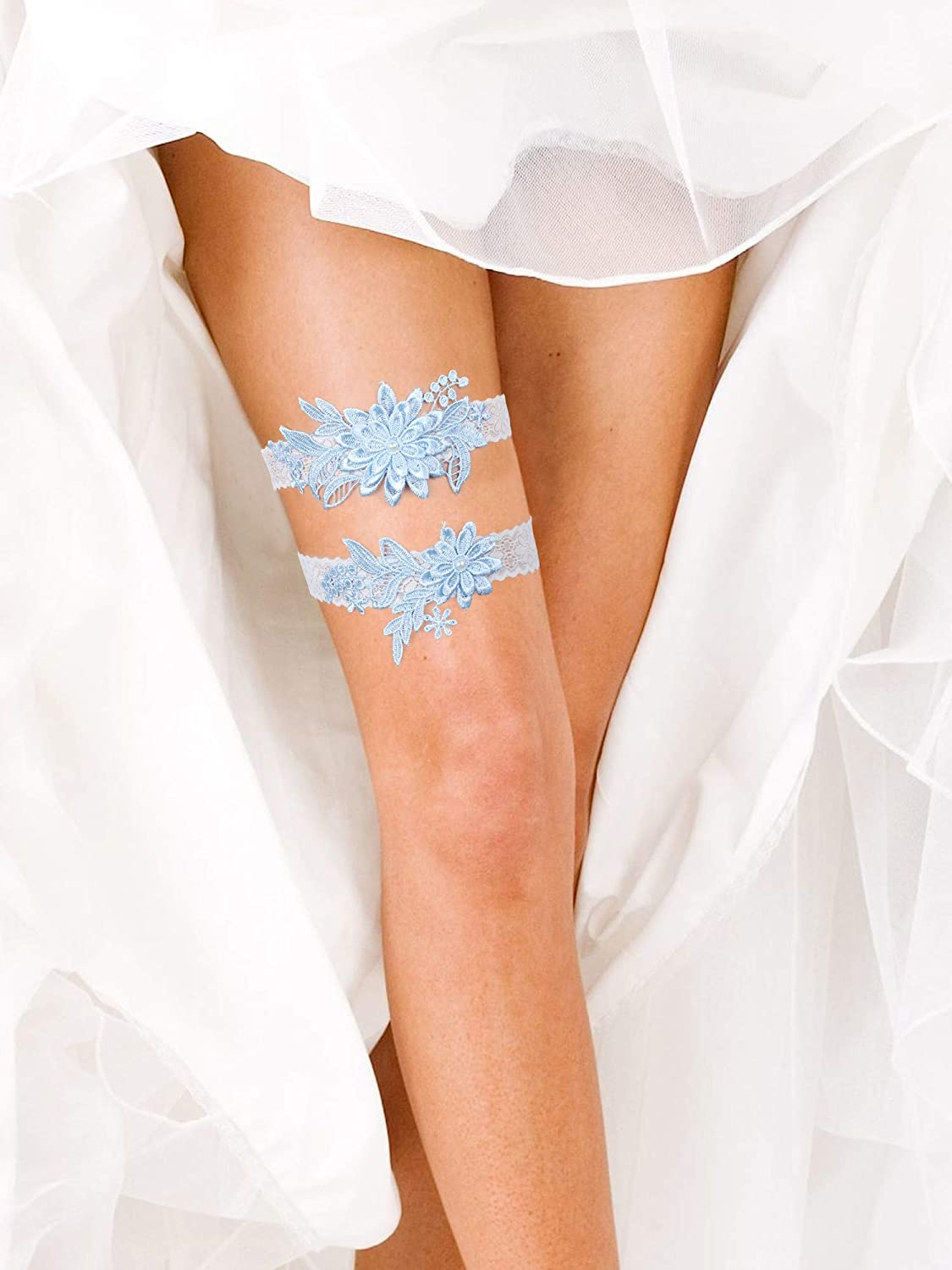 2 Pieces Wedding Garters Daisy Lace Bridal Garter Hand Sewn Faux Pearls Garter for Bride