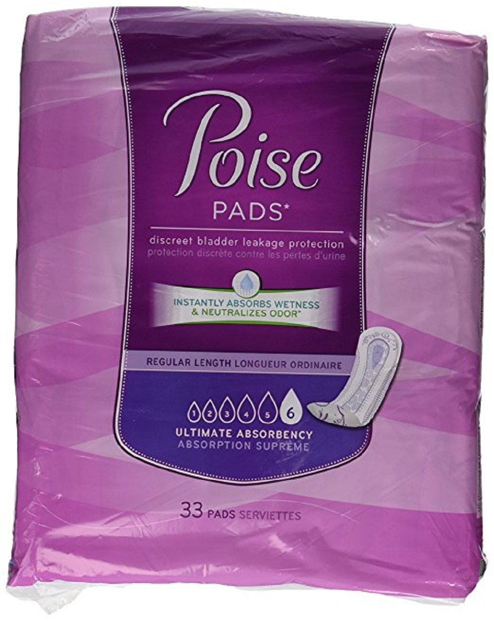 Poise Pads, Regular Length, Ultimate Absorbency 33 pads (Pack of 2)
