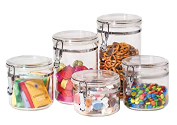 oggi 9322 5 piece acrylic canister set with airtight clamp lids food storage container. beautiful ideas. Home Design Ideas